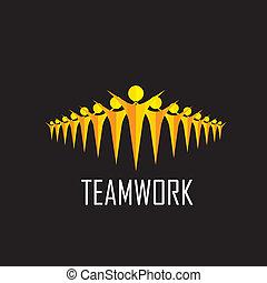 teamwork, -, drużyna, wektor, togetherness, pojęcie, współposiadanie