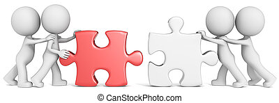 Dude the partners x 4 putting white and red puzzle pieces together.