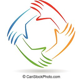 teamwork, eenheid, handen, logo