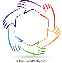 teamwork, eenheid, handen, logo, identiteit