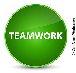 Teamwork elegant green round button