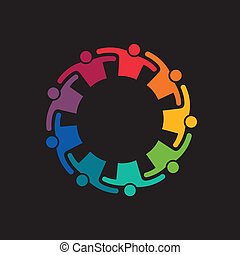 Teamwork Embrace 9 Group of People. Concept of commitment, teaming up, united. Vector icon