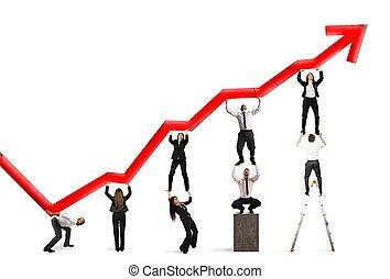 teamwork, en, collectief, winst
