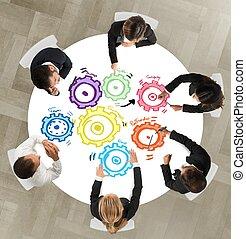 teamwork, en, integratie, concept