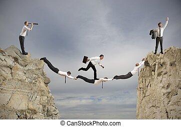 teamwork, en, succes, concept