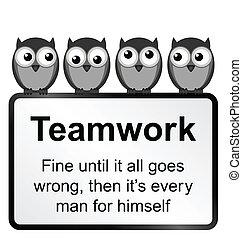 Teamwork - Monochrome comical teamwork when it goes wrong...