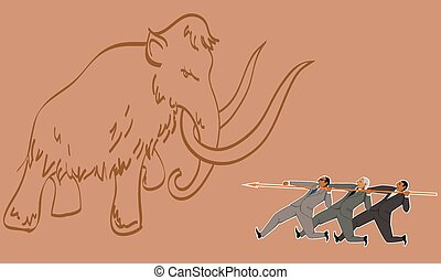 Teamwork - Group of businessman armed with one lance...