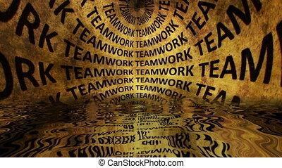 Teamwork falling down grunge concept