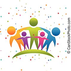 Teamwork family logo - Teamwork people hugging concept of...