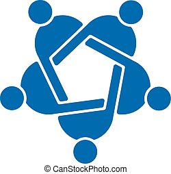 Teamwork five people logo. Vector graphic