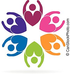 Teamwork flower business love people logo