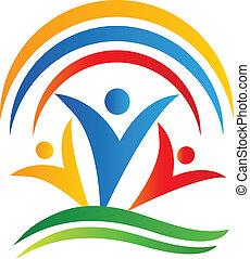 teamwork, folk, anslutningar, logo