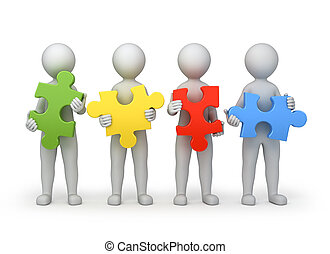 teamwork, four persons with different puzzles, 3d image with work path