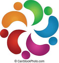 Teamwork friendship 5 people logo