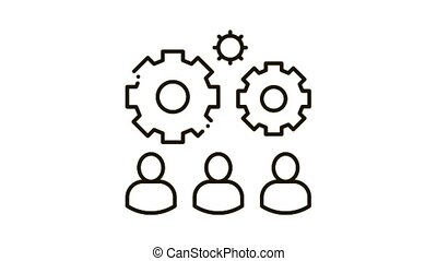 Teamwork Gear Icon Animation. black Teamwork Gear animated icon on white background