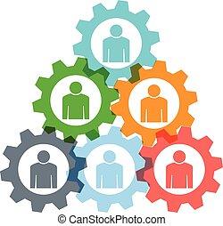 Teamwork gear pyramid logo