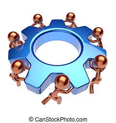 Teamwork gear wheel cogwheel business process icon concept