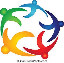 teamwork, globalny, ludzie, logo, wektor