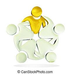 Teamwork gold 3D people logo