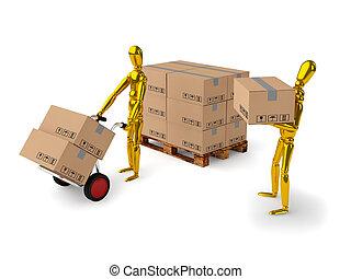 Teamwork - golden man together unload boxes on white...
