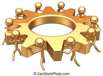 Teamwork golden symbol concept