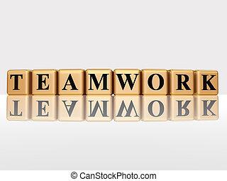 teamwork, gouden, reflectie