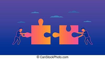 Teamwork Gradient illustration on violet background
