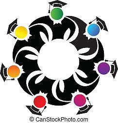 Teamwork graduates logo - Teamwork colorful graduates vector...