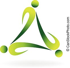 Teamwork green ecology logo