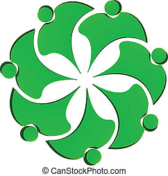 Teamwork green people flower logo