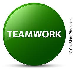 Teamwork green round button