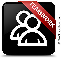 Teamwork (group icon) black square button red ribbon in corner