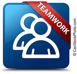 Teamwork (group icon) blue square button red ribbon in corner