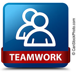 Teamwork (group icon) blue square button red ribbon in middle