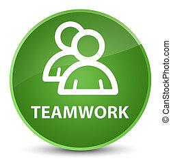 Teamwork (group icon) elegant soft green round button