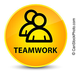 Teamwork (group icon) elegant yellow round button