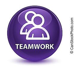 Teamwork (group icon) glassy purple round button - Teamwork...