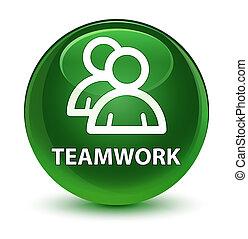 Teamwork (group icon) glassy soft green round button