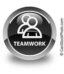 Teamwork (group icon) glossy black round button