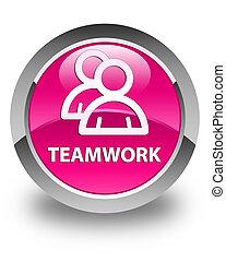 Teamwork (group icon) glossy pink round button