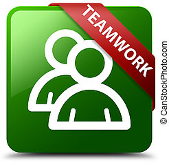 Teamwork (group icon) green square button red ribbon in corner
