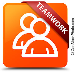Teamwork (group icon) orange square button red ribbon in corner