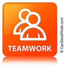 Teamwork (group icon) orange square button