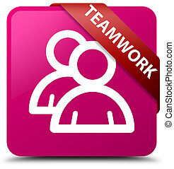 Teamwork (group icon) pink square button red ribbon in corner