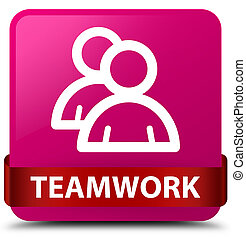 Teamwork (group icon) pink square button red ribbon in middle