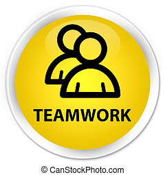Teamwork (group icon) premium yellow round button