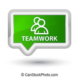 Teamwork (group icon) prime green banner button