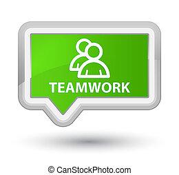 Teamwork (group icon) prime soft green banner button