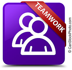 Teamwork (group icon) purple square button red ribbon in corner