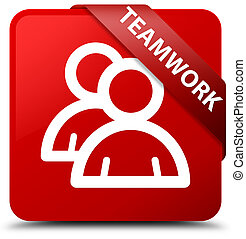 Teamwork (group icon) red square button red ribbon in corner